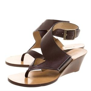 Chloe black leather ankle strap wedge sandals
